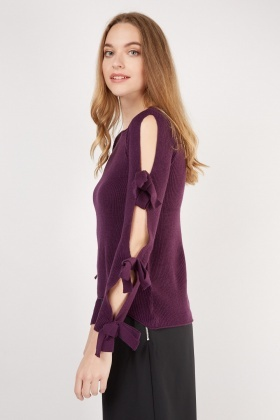 Cold Shoulder Bow Trim Sleeve Knit Top