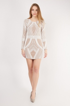 Embossed Tribal Pattern Bodycon Dress