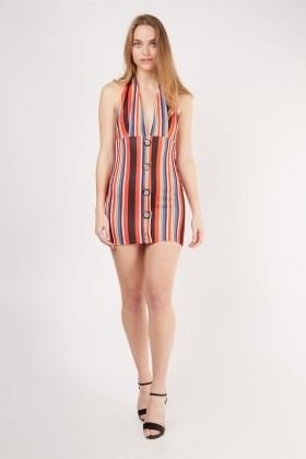 Halter Neck Multi Striped Mini Dress