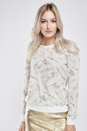 Metallic Contrasted Sheer Sweatshirt