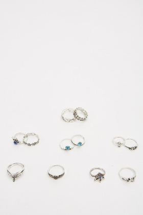 Pack Of 13 Silver Plated Ring Set