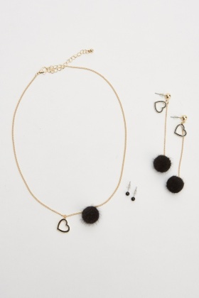 Pom-Pom Heart Necklace And Earrings Set