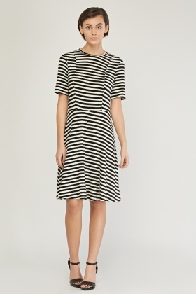 Striped Midi Swing Dress