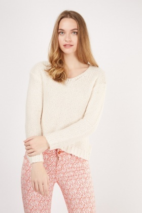Tie Up Back Loose Knit Jumper