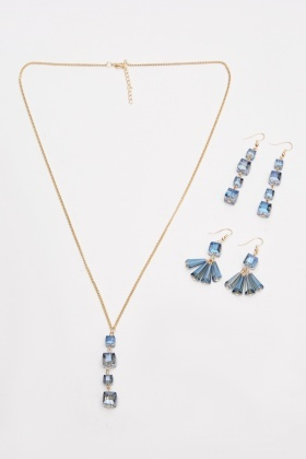 Y-Necklace And Dangly Earrings Set