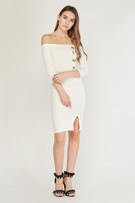 Button Trim Off Shoulder Midi Dress