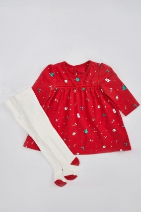 Festive Tunic Dress And Stocking Set