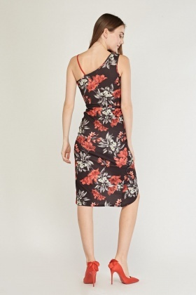 Floral Contrast Midi Wrap Dress