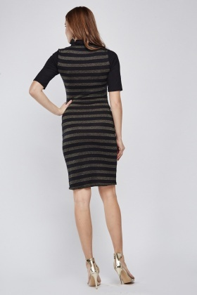 Metallic Contrasted Side Bodycon Dress