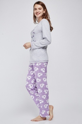 Mixed Heart Print Pyjama Set