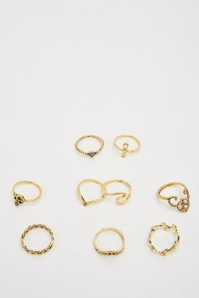 Pack Of 9 Gold Plated Ring Set