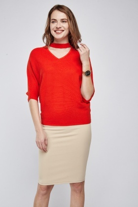 Ribbed Choker Neck Knit Jumper