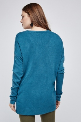 Ribbed Hem V Neck Jumper
