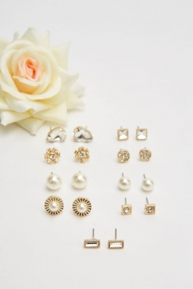 Set Of 9 Stud Top Earrings Set