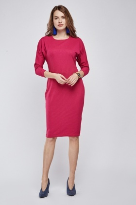 Textured Ruched Sleeve Midi Dress