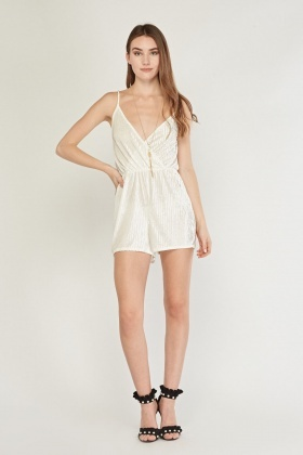 Velveteen Devore Wrap Playsuit