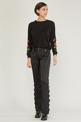 Belted Buckle Side Combat Trousers
