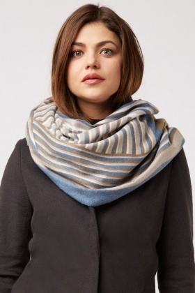 Contrasted Stripe Long Scarf