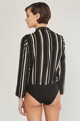 Draped Striped Bodysuit