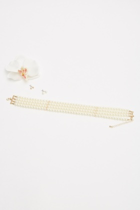 Faux Pearl Choker Necklace And Earrings Set