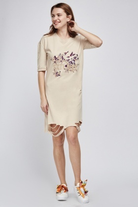 Floral Embroidered Cut Out Midi Dress