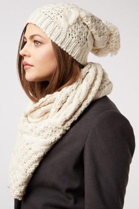Metallic Thread Knitted Scarf And Beanie Hat Set - Just £5 e91e940b9b8