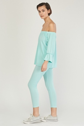 Off Shoulder Top And Trousers Set