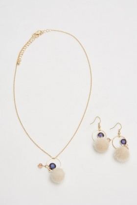 Pom-Pom Pendant Necklace And Earrings Set