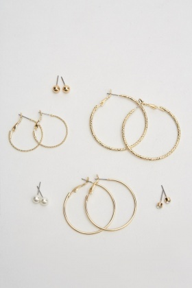 Set Of 6 Hoop And Stud Earrings Set