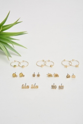 Set Of 9 Hoop and Stud Earrings Set
