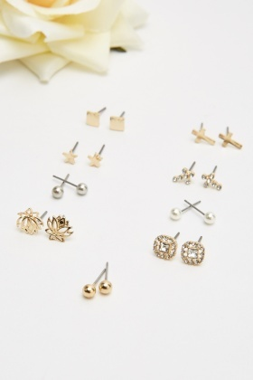 Set Of 9 Stud Earrings Set