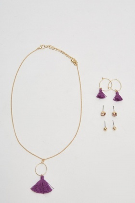 Tassel Necklace And Earrings Set
