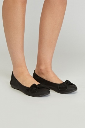 Bow Contrast Ballet Pumps