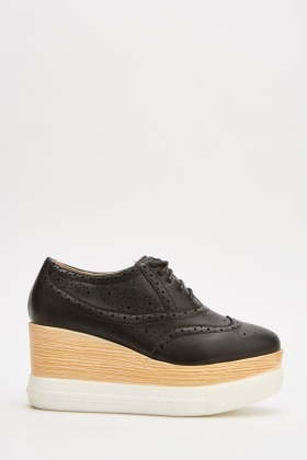 Brogue Chunky Faux Leather Shoes