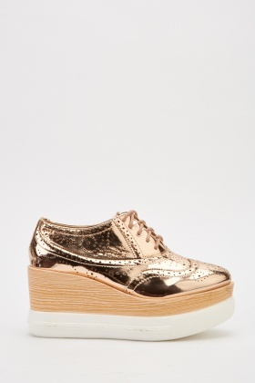 Contrast Metallic Brogue Chunky Shoes