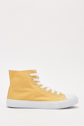 Contrast Textured High Top Trainers