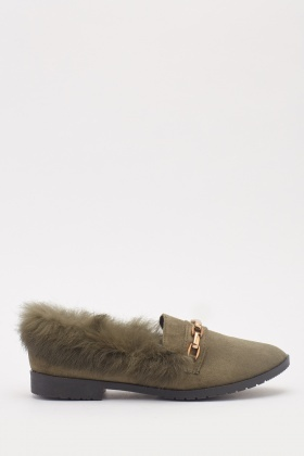 Fluffy Suedette Front Detail Loafers