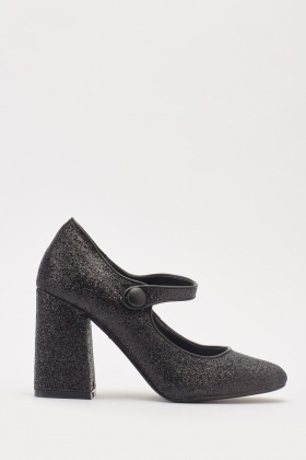 Glittery Strap Heeled Pumps