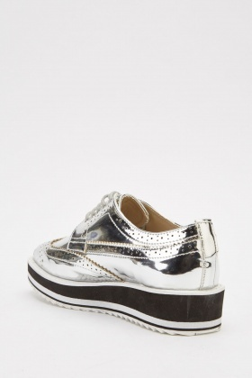 Metallic Brogue Lace Up Shoes