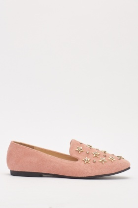 Suedette Studded Loafers