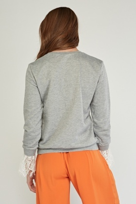 Embroidered Lace Trim Sweatshirt