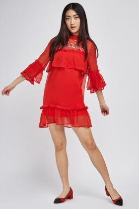 Embroidered Ruffle Sheer Tunic Dress