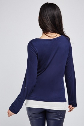 Eyelet Trim Contrasted Top