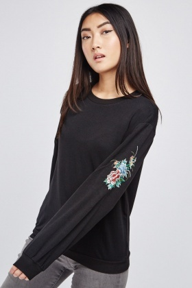 Floral Embroidered Sleeve Sweatshirt