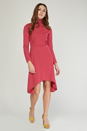 High Neck Textured Asymmetric Dress