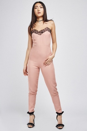 Lace Trim Dusty Pink Jumpsuit