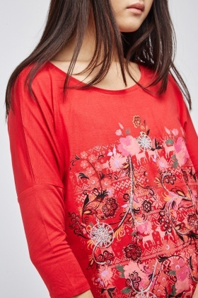 Metallic Embroidered Printed Top