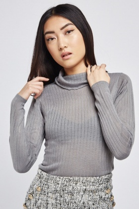 Roll Neck Rib Knit Top