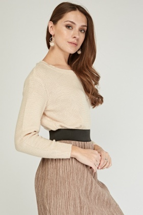 Scoop Neck Knitted Crop Jumper