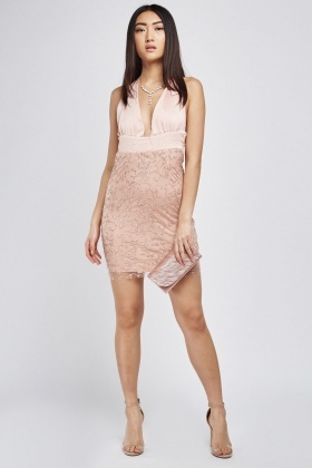 Tie Up Low Plunge Glittered Dress